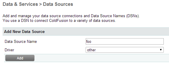ColdFusion 10: How to configure data sources with Microsoft