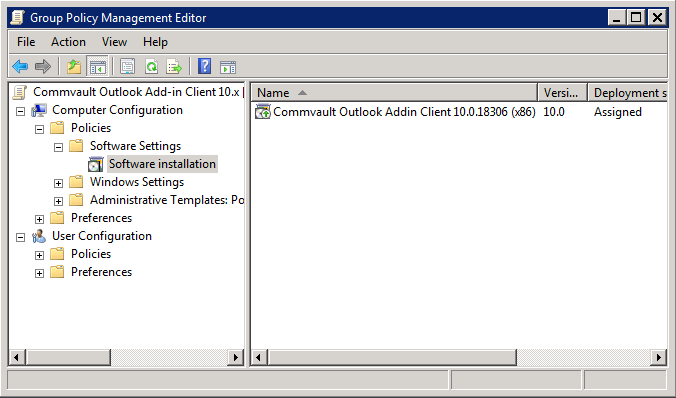 CommVault: Deploying Outlook Add-In Client via Active Directory