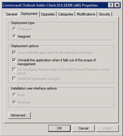 CommVault: Deploying Outlook Add-In Client via Active