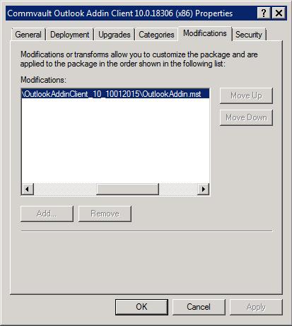 CommVault: Deploying Outlook Add-In Client via Active Directory