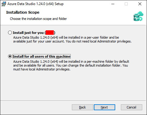Azure Data Studio - per machine / per user selection dialog