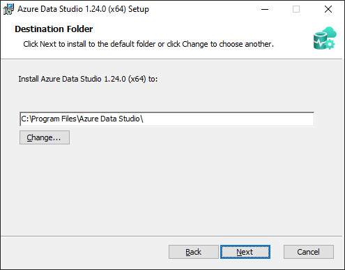 Azure Data Studio - Path selection dialog