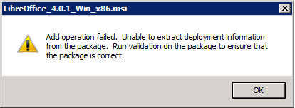 Add operation failed. Unable to extract deployment information from the package