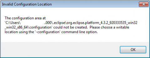 The configuration area at C:\Users\[username]\.eclipse\...\configuration could not be created. Please choose a writable location using the '-configuration' command line option.